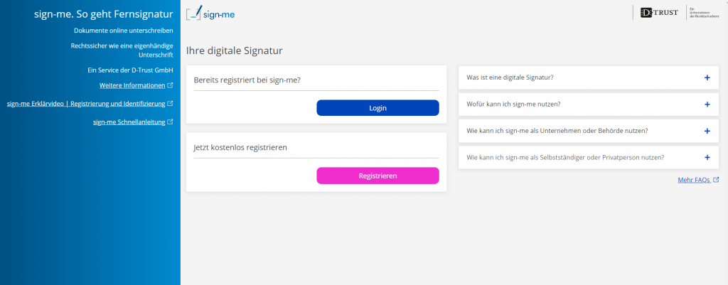 Sign-me ist ein Webdienst für die rechtssichere Fernsignatur.